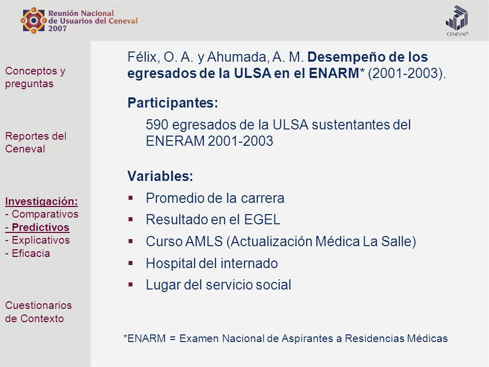 590 egresados de la ULSA sustentantes del ENERAM 2001-2003