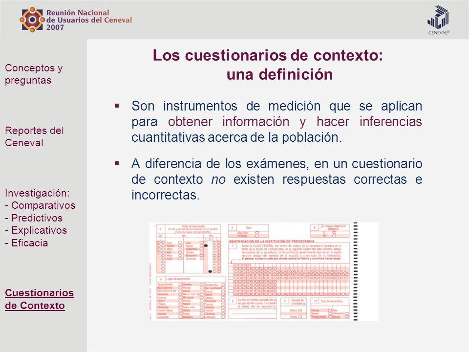 Los cuestionarios de contexto: una definición