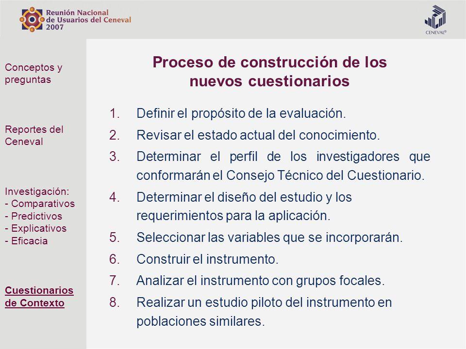 Proceso de construcción de los nuevos cuestionarios