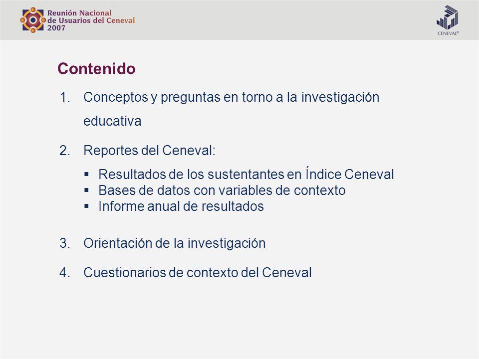 Contenido Conceptos y preguntas en torno a la investigación educativa
