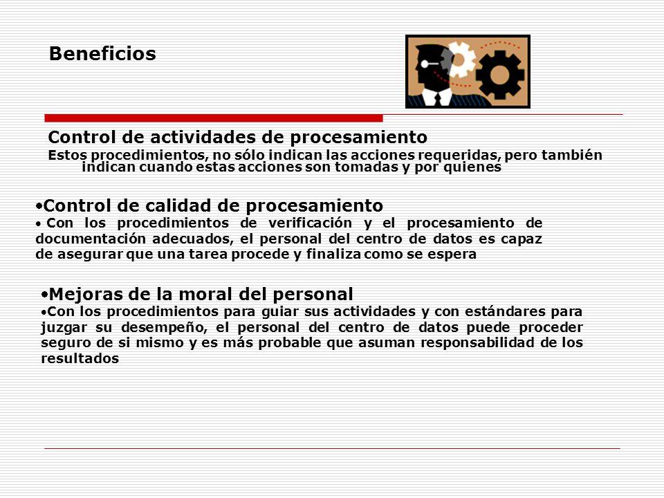 Beneficios Control de actividades de procesamiento
