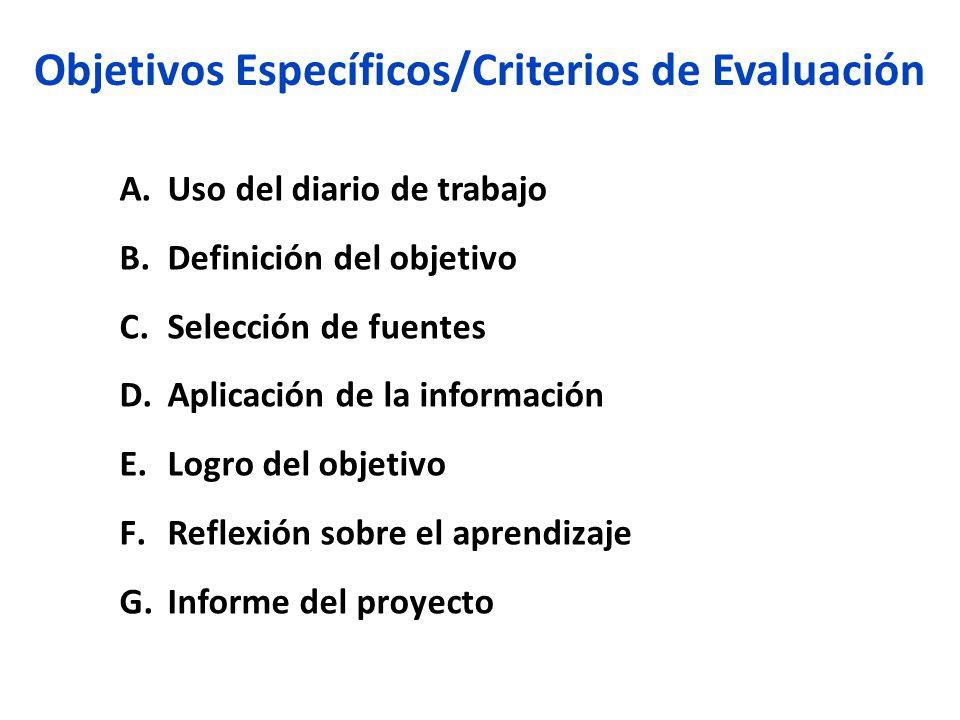 Objetivos Específicos/Criterios de Evaluación