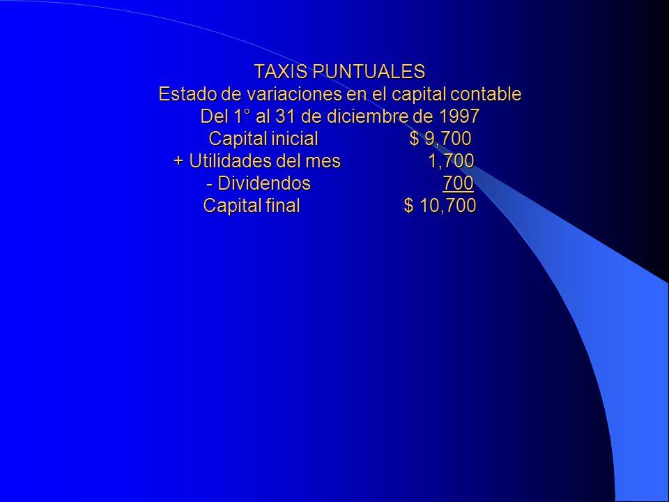 TAXIS PUNTUALES Estado de variaciones en el capital contable Del 1° al 31 de diciembre de 1997 Capital inicial $ 9,700 + Utilidades del mes 1,700 - Dividendos 700 Capital final $ 10,700