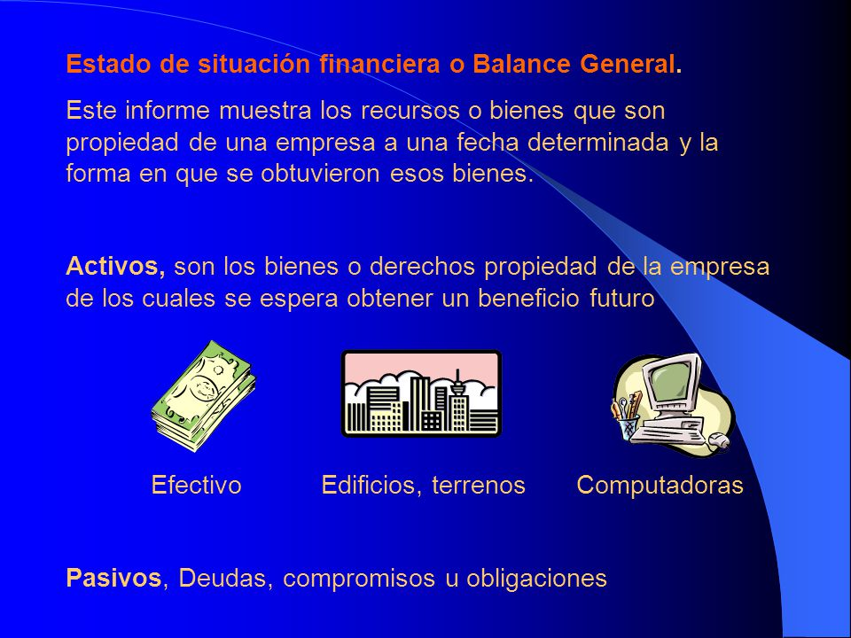 Estado de situación financiera o Balance General.