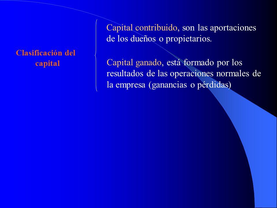 Capital contribuido, son las aportaciones de los dueños o propietarios.