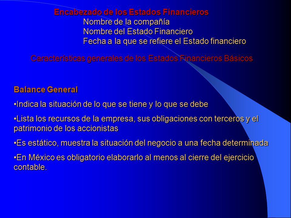 Características generales de los Estados Financieros Básicos