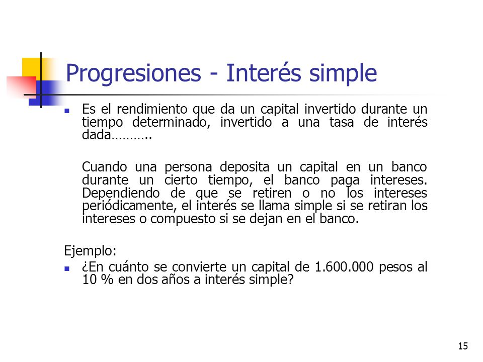 Progresiones - Interés simple