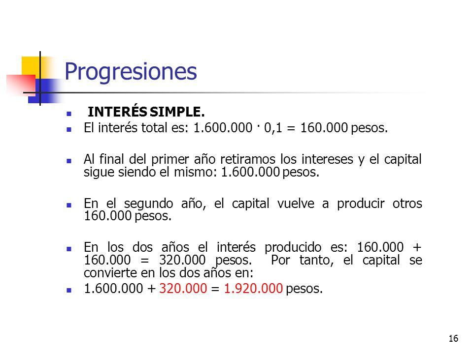 Progresiones INTERÉS SIMPLE.