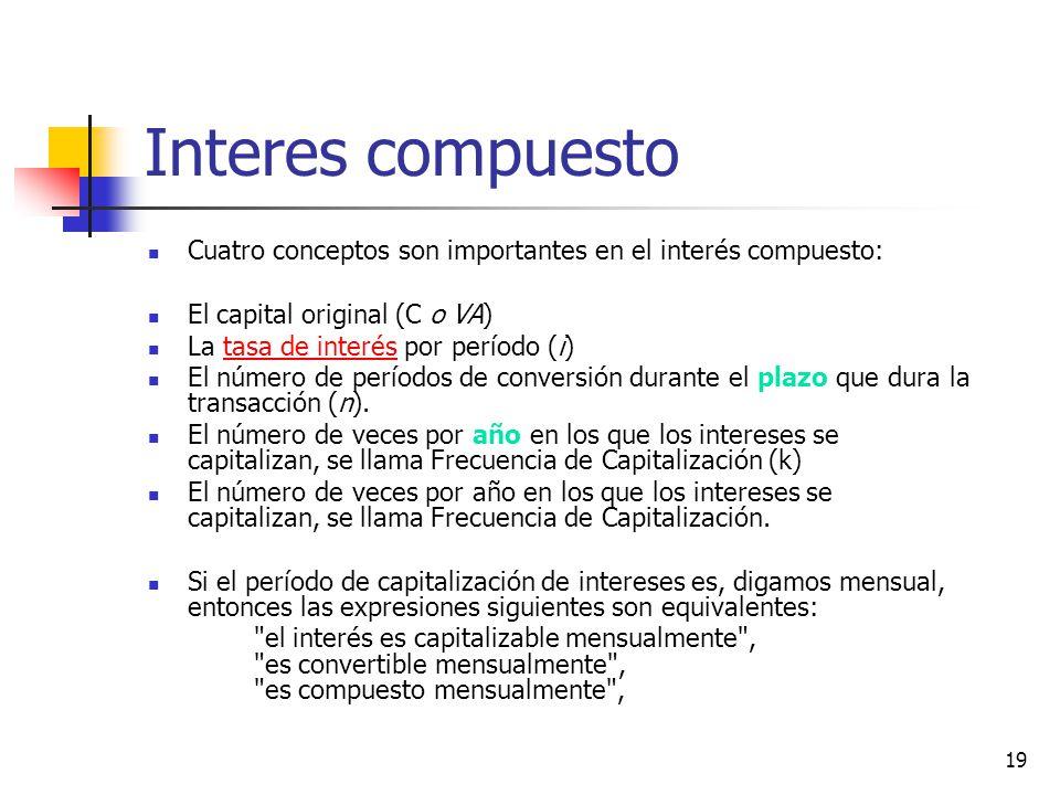 Interes compuesto Cuatro conceptos son importantes en el interés compuesto: El capital original (C o VA)