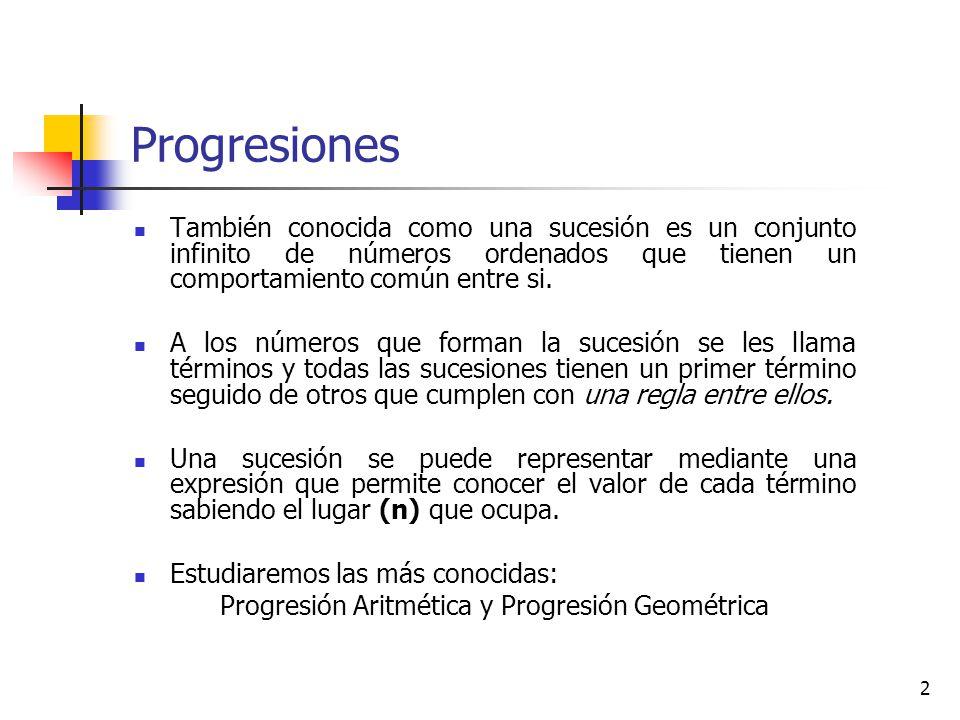 Progresión Aritmética y Progresión Geométrica