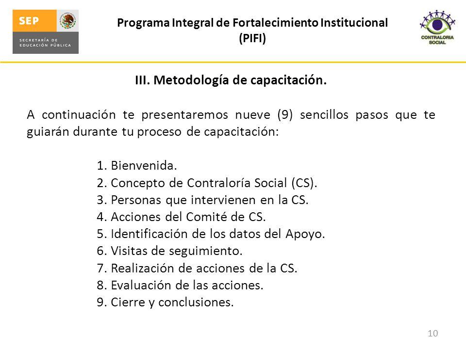 III. Metodología de capacitación.