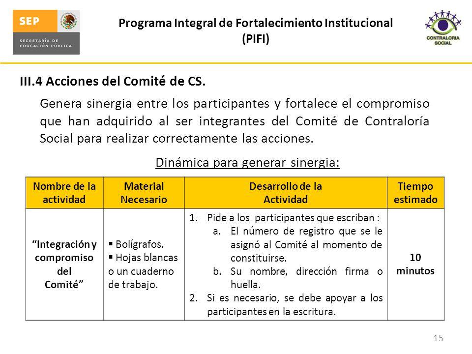 III.4 Acciones del Comité de CS.