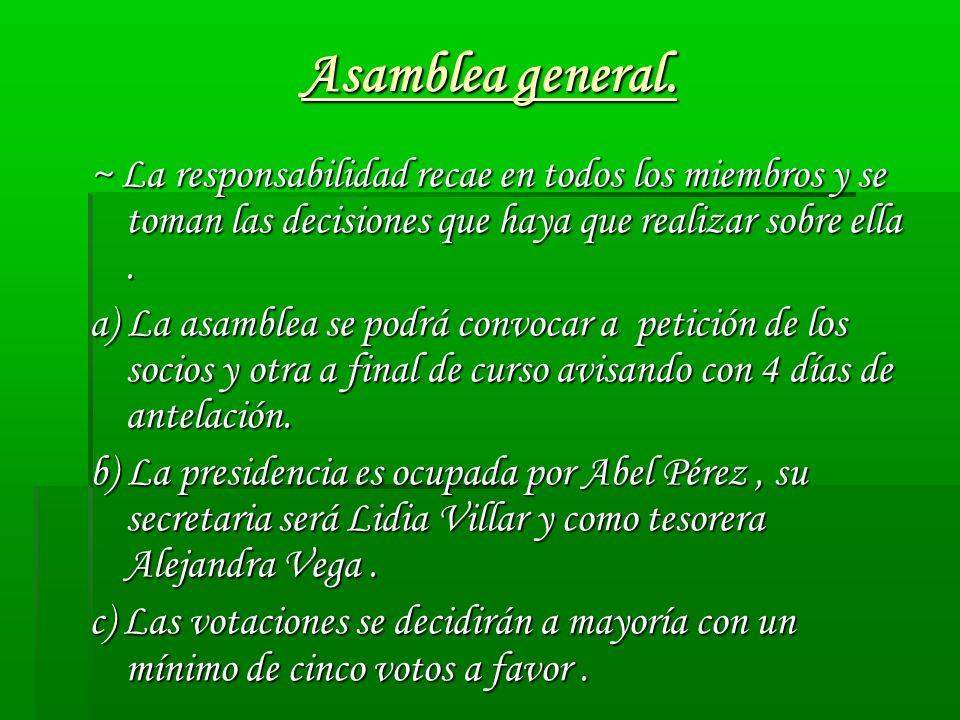 Asamblea general. ~ La responsabilidad recae en todos los miembros y se toman las decisiones que haya que realizar sobre ella .