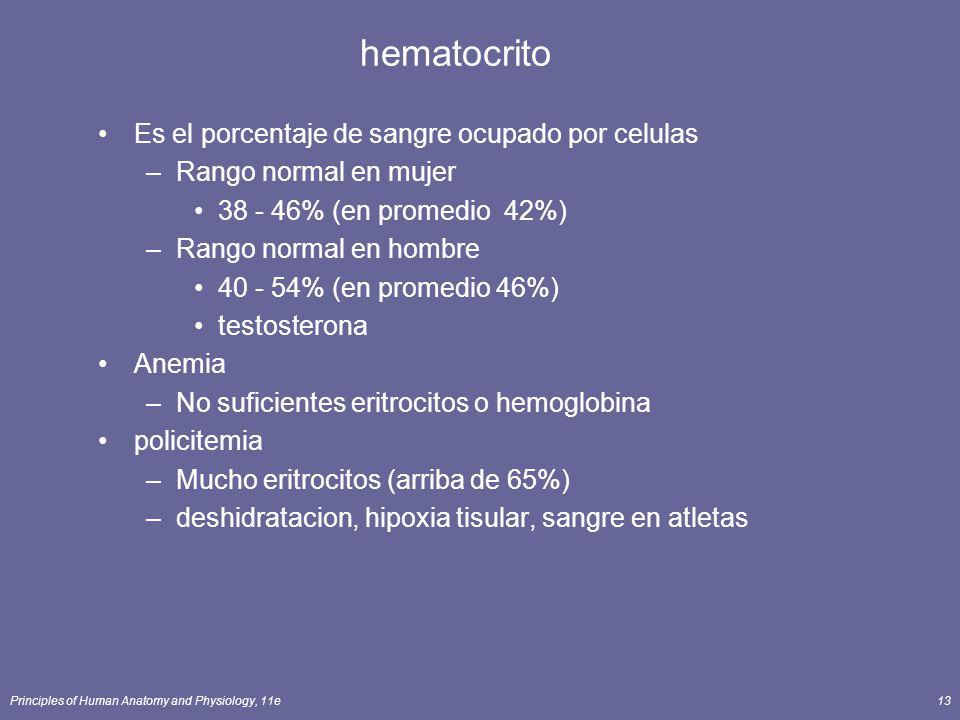hematocrito Es el porcentaje de sangre ocupado por celulas