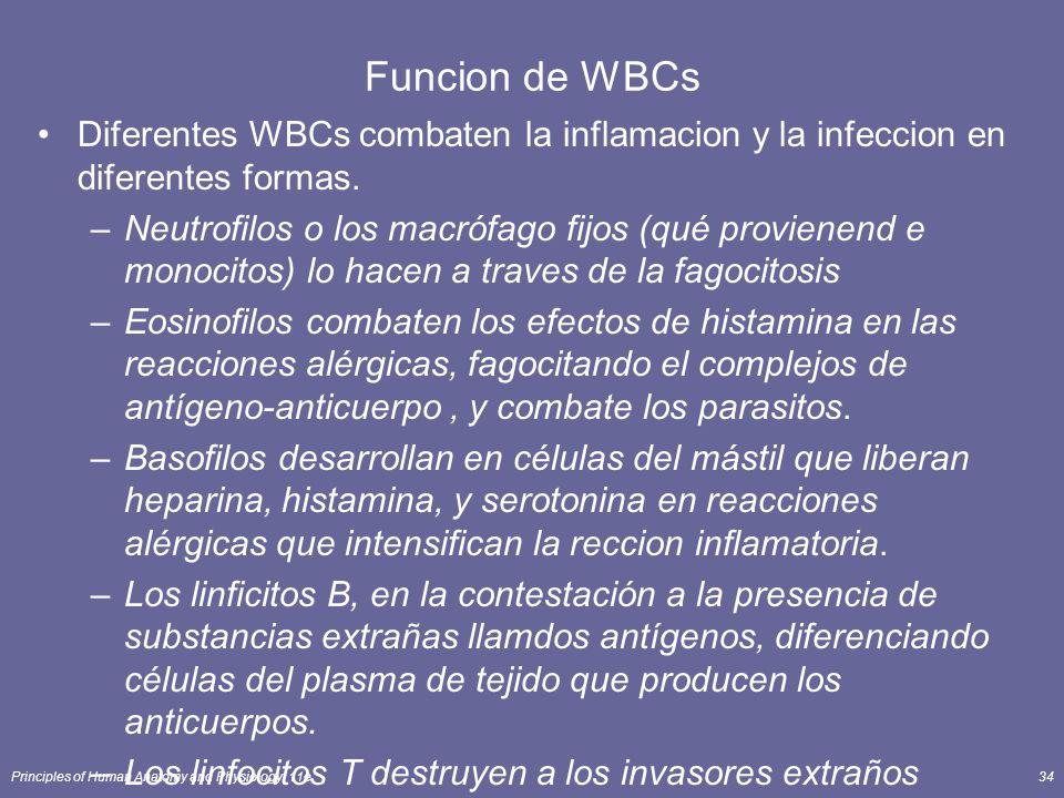 Funcion de WBCs Diferentes WBCs combaten la inflamacion y la infeccion en diferentes formas.