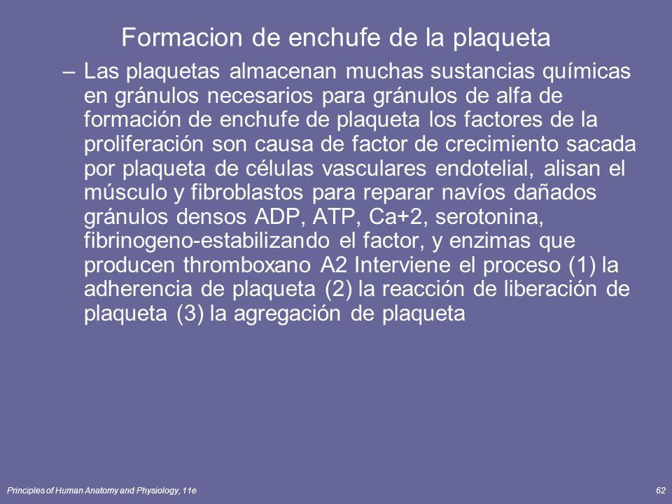 Formacion de enchufe de la plaqueta