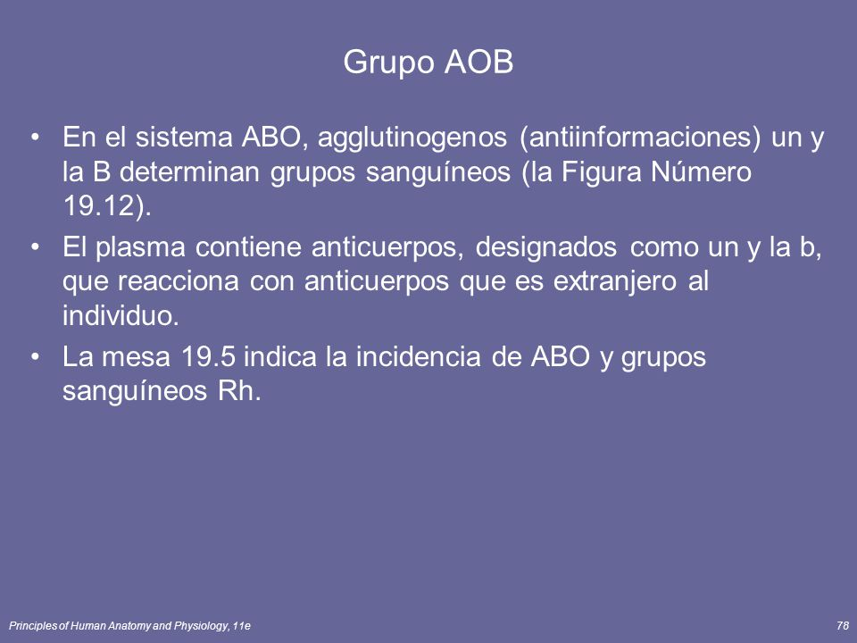 Grupo AOB En el sistema ABO, agglutinogenos (antiinformaciones) un y la B determinan grupos sanguíneos (la Figura Número 19.12).