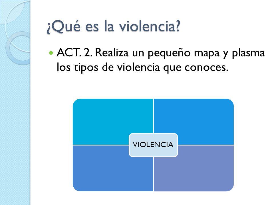 ¿Qué es la violencia ACT. 2. Realiza un pequeño mapa y plasma los tipos de violencia que conoces.