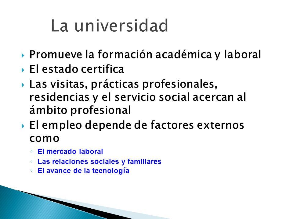 La universidad Promueve la formación académica y laboral
