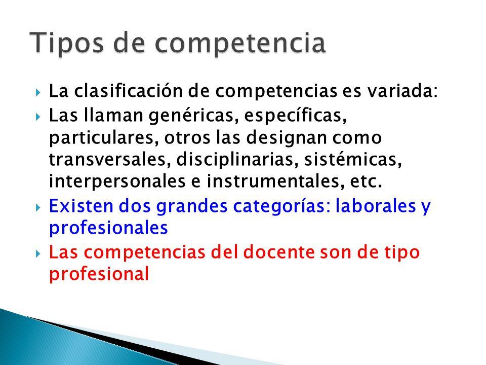 Tipos de competencia La clasificación de competencias es variada: