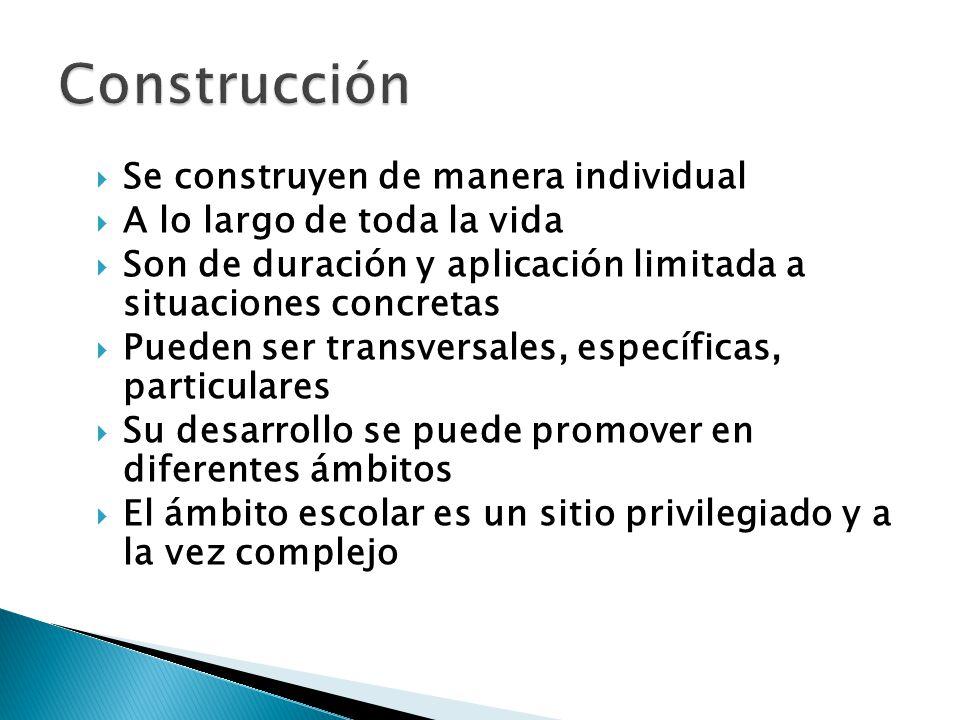 Construcción Se construyen de manera individual