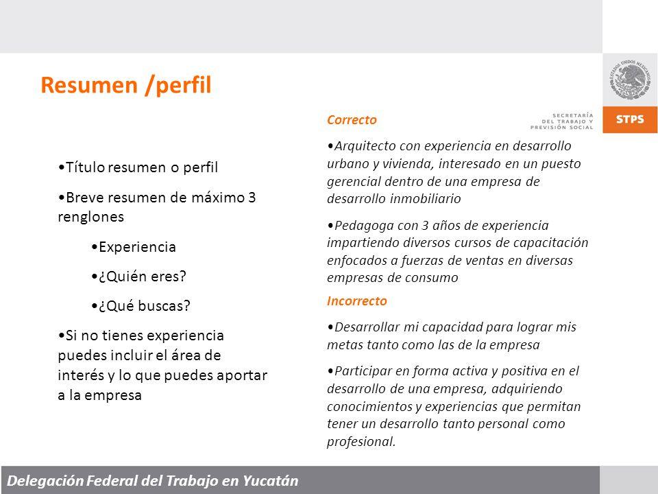 Resumen /perfil Título resumen o perfil
