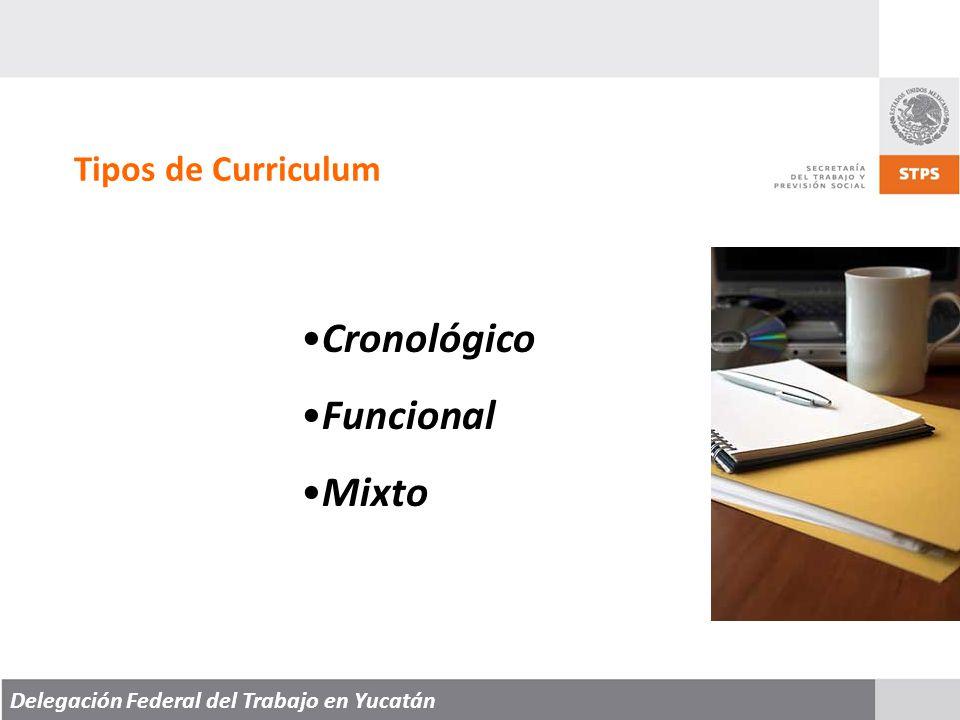 Cronológico Funcional Mixto Tipos de Curriculum