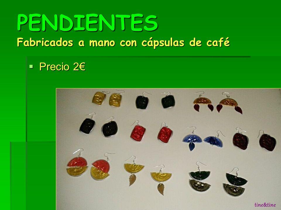 PENDIENTES Fabricados a mano con cápsulas de café