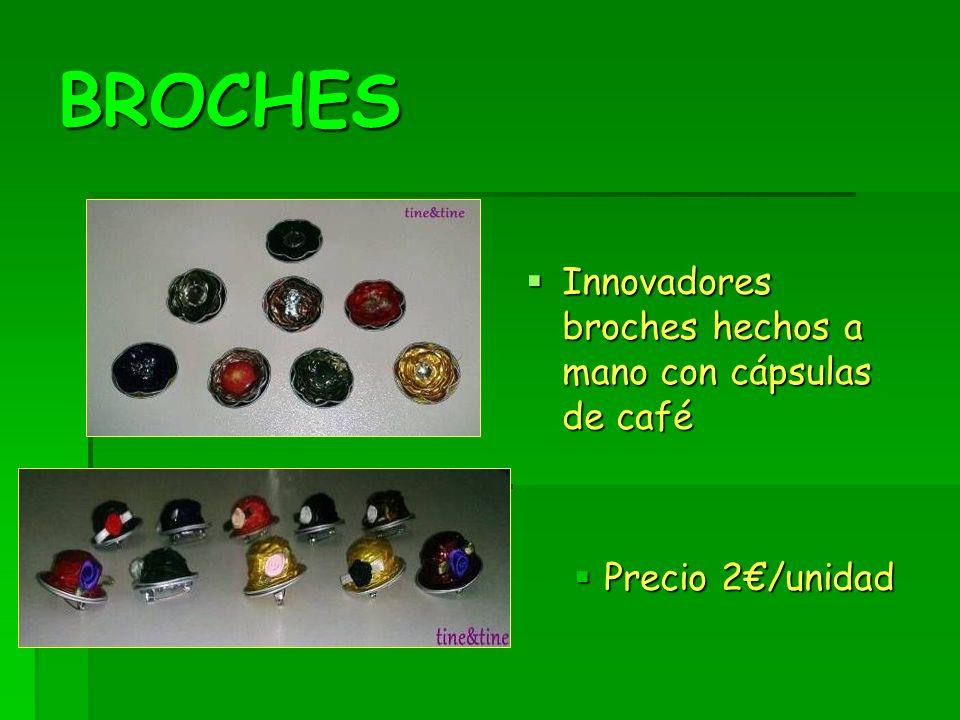 BROCHES Innovadores broches hechos a mano con cápsulas de café