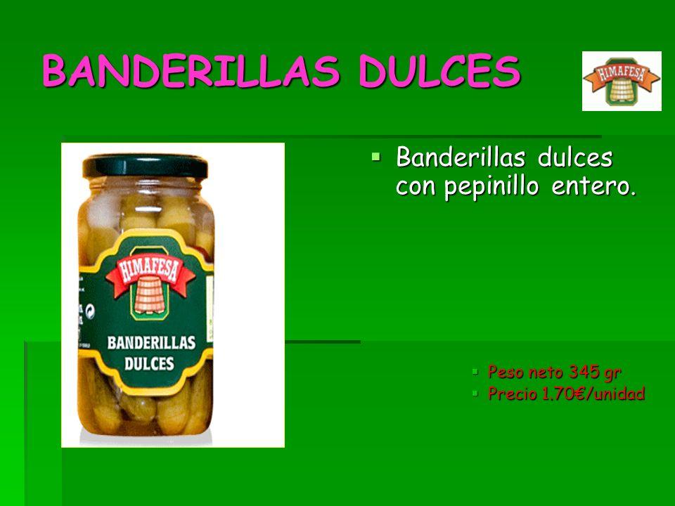 BANDERILLAS DULCES Banderillas dulces con pepinillo entero.