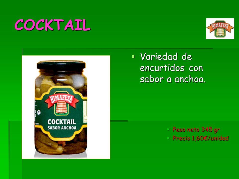 COCKTAIL Variedad de encurtidos con sabor a anchoa. Peso neto 345 gr
