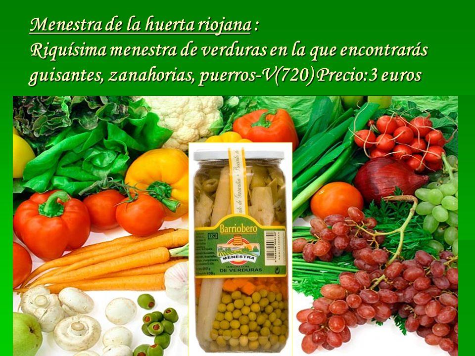 Menestra de la huerta riojana : Riquísima menestra de verduras en la que encontrarás guisantes, zanahorias, puerros-V(720) Precio:3 euros