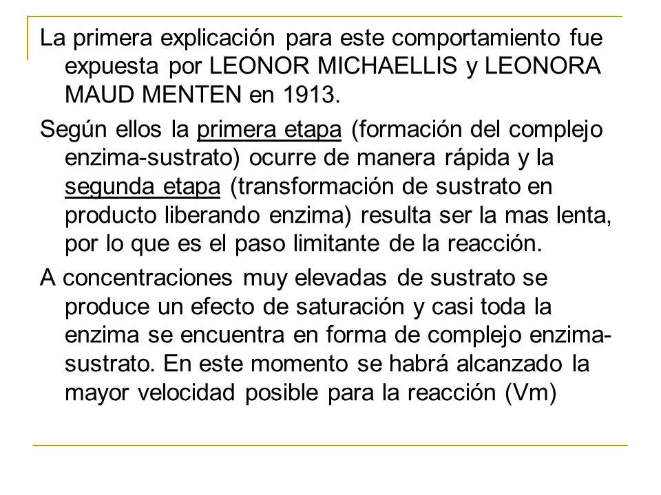 La primera explicación para este comportamiento fue expuesta por LEONOR MICHAELLIS y LEONORA MAUD MENTEN en 1913.