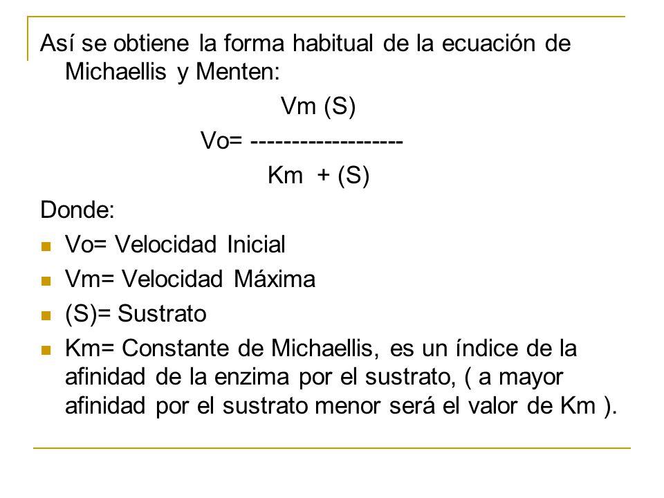 Así se obtiene la forma habitual de la ecuación de Michaellis y Menten: