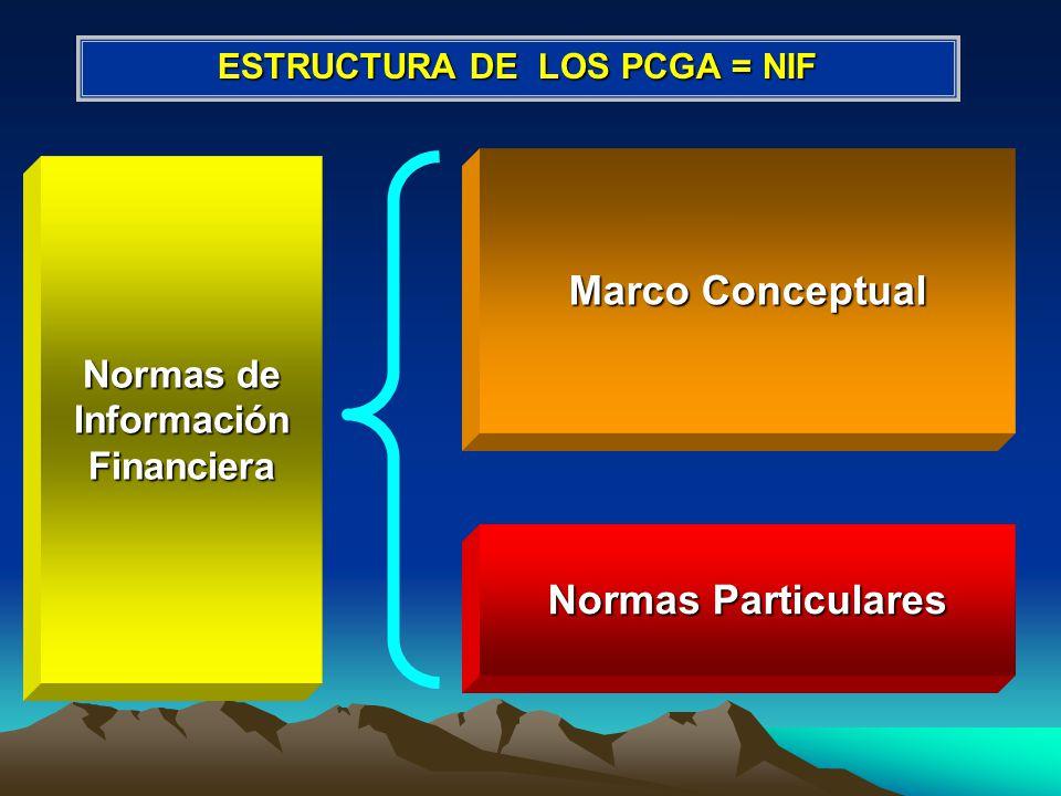 ESTRUCTURA DE LOS PCGA = NIF Normas de Información Financiera