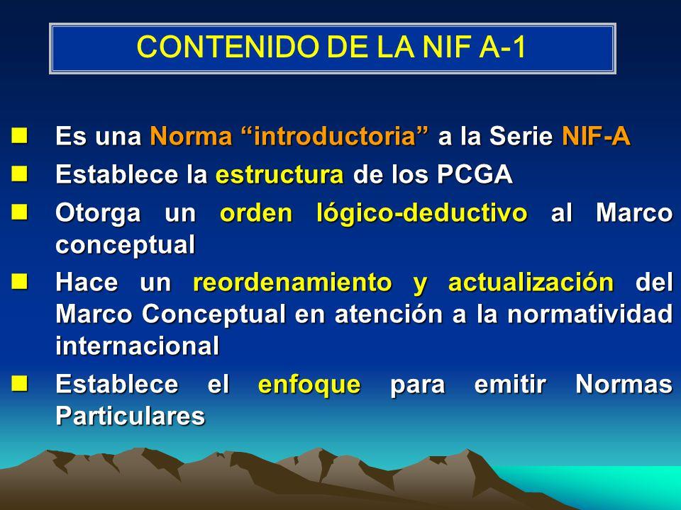 CONTENIDO DE LA NIF A-1 Es una Norma introductoria a la Serie NIF-A