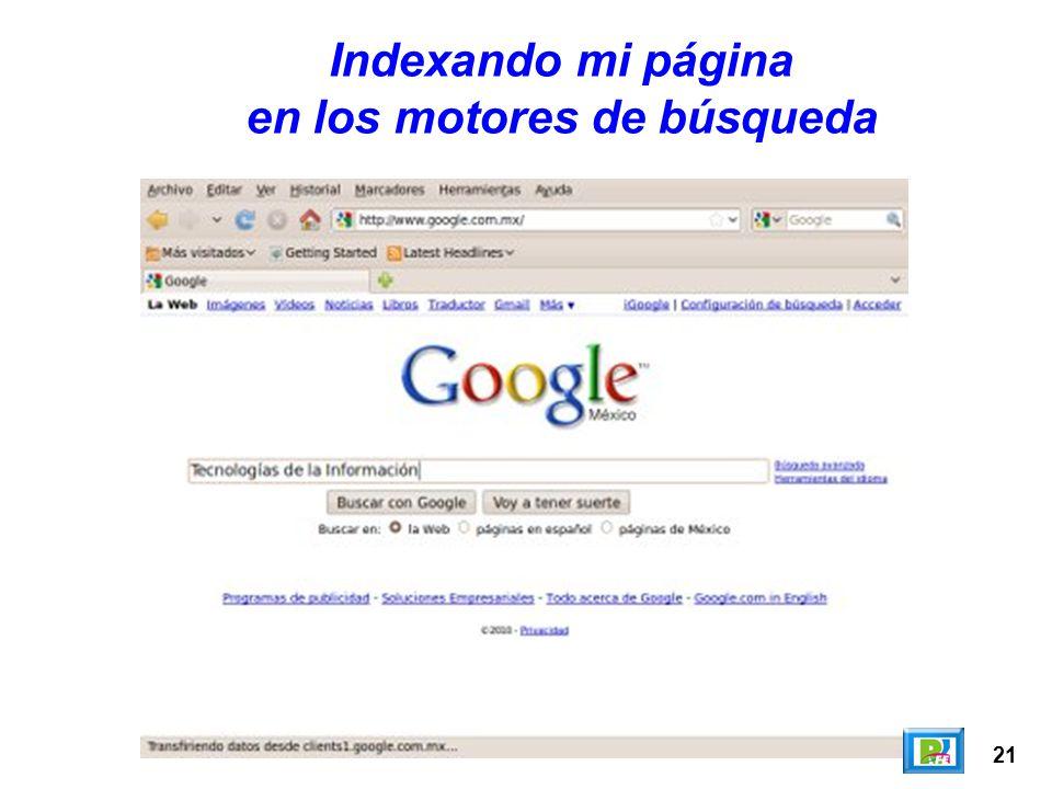 en los motores de búsqueda
