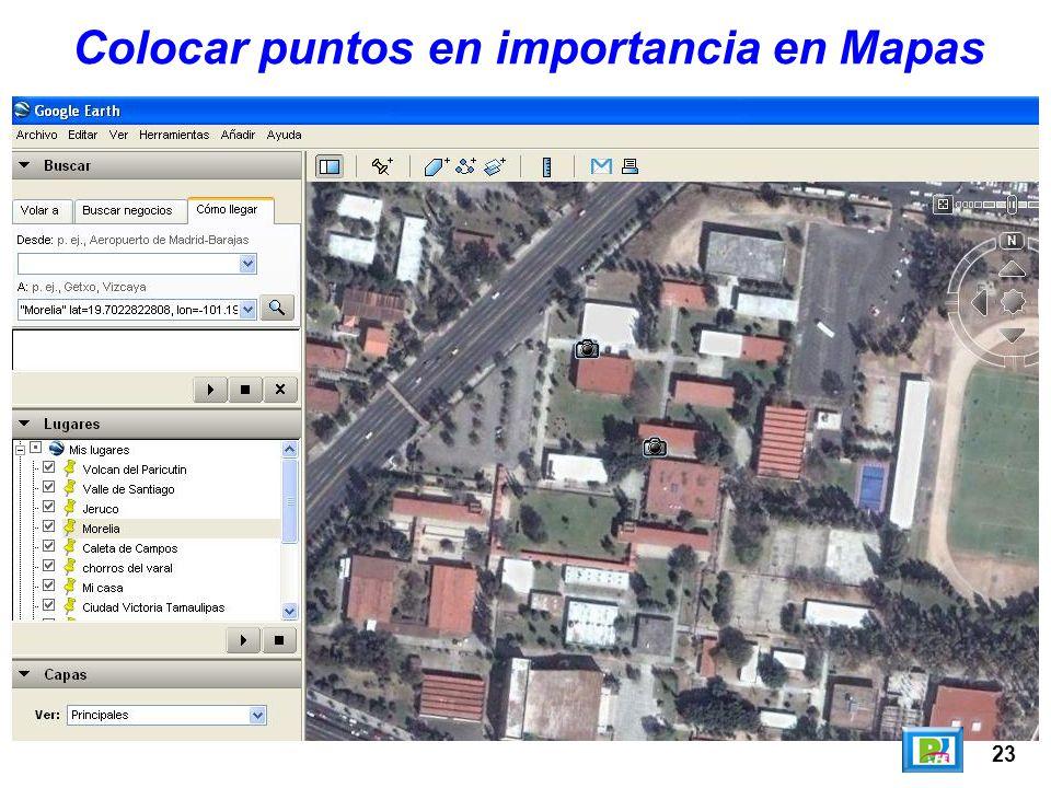 Colocar puntos en importancia en Mapas