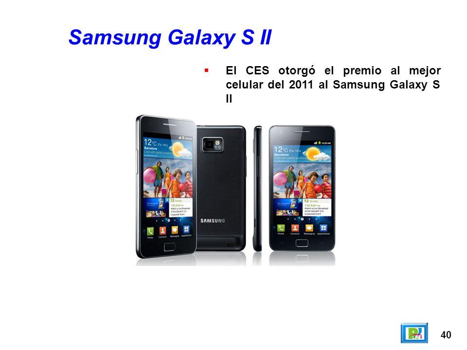Samsung Galaxy S II El CES otorgó el premio al mejor celular del 2011 al Samsung Galaxy S II 40
