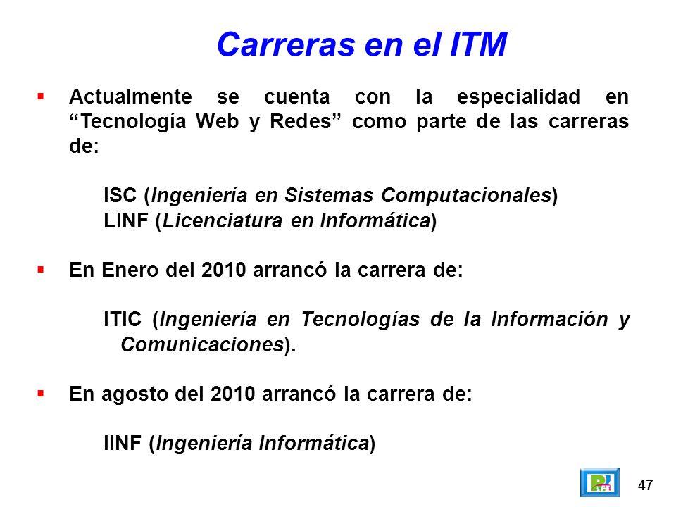 Carreras en el ITM Actualmente se cuenta con la especialidad en Tecnología Web y Redes como parte de las carreras de: