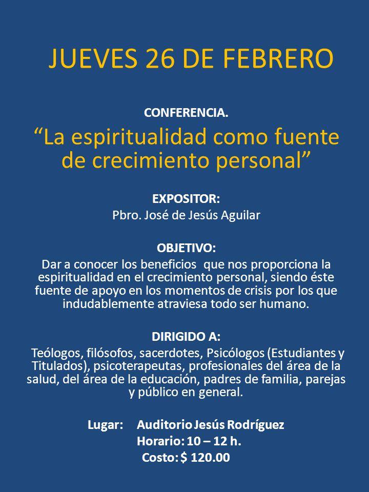 Lugar: Auditorio Jesús Rodríguez
