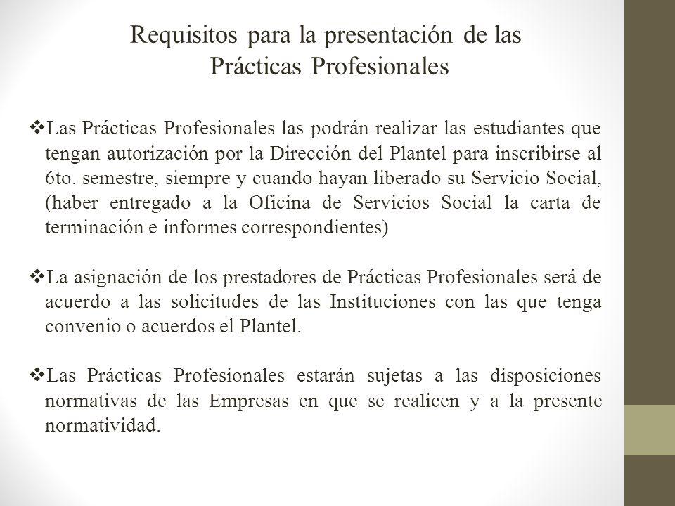 Requisitos para la presentación de las Prácticas Profesionales