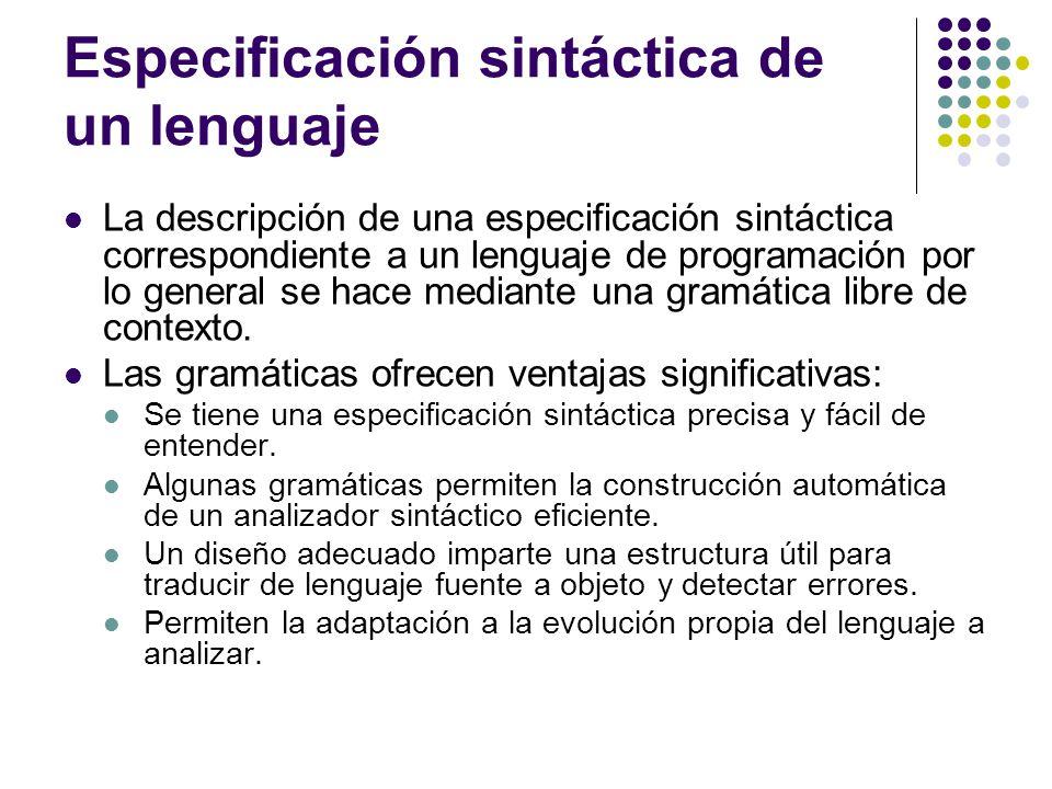 Especificación sintáctica de un lenguaje