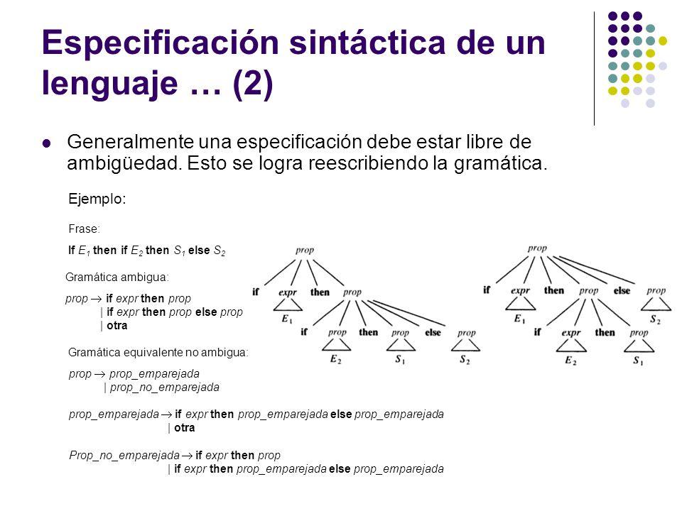 Especificación sintáctica de un lenguaje … (2)