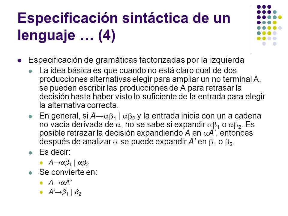 Especificación sintáctica de un lenguaje … (4)