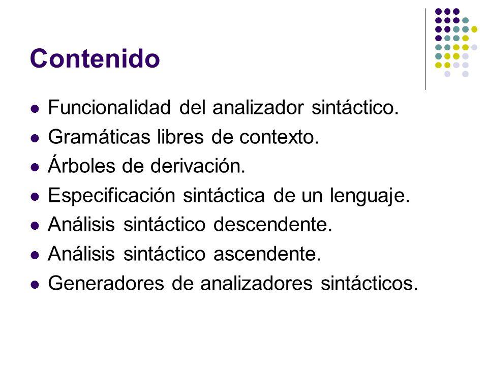 Contenido Funcionalidad del analizador sintáctico.