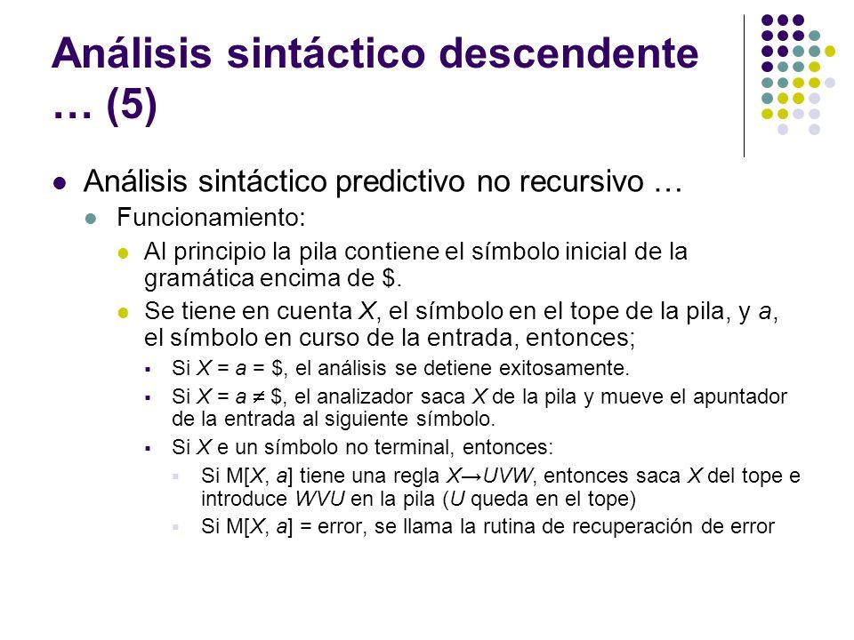 Análisis sintáctico descendente … (5)