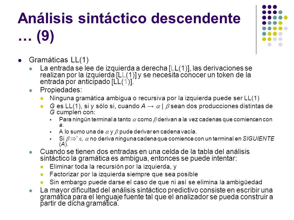Análisis sintáctico descendente … (9)