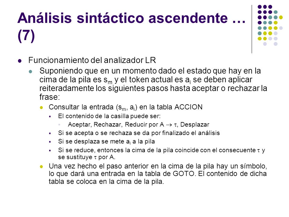 Análisis sintáctico ascendente … (7)