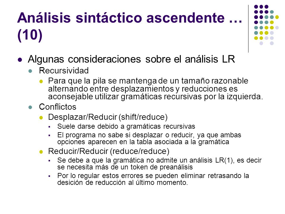 Análisis sintáctico ascendente … (10)
